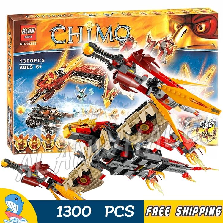 1300 pièces volant Phoenix combattant feu Temple Base sabre-dent véhicule 10298 Figure blocs de construction jouets compatibles avec LegoING