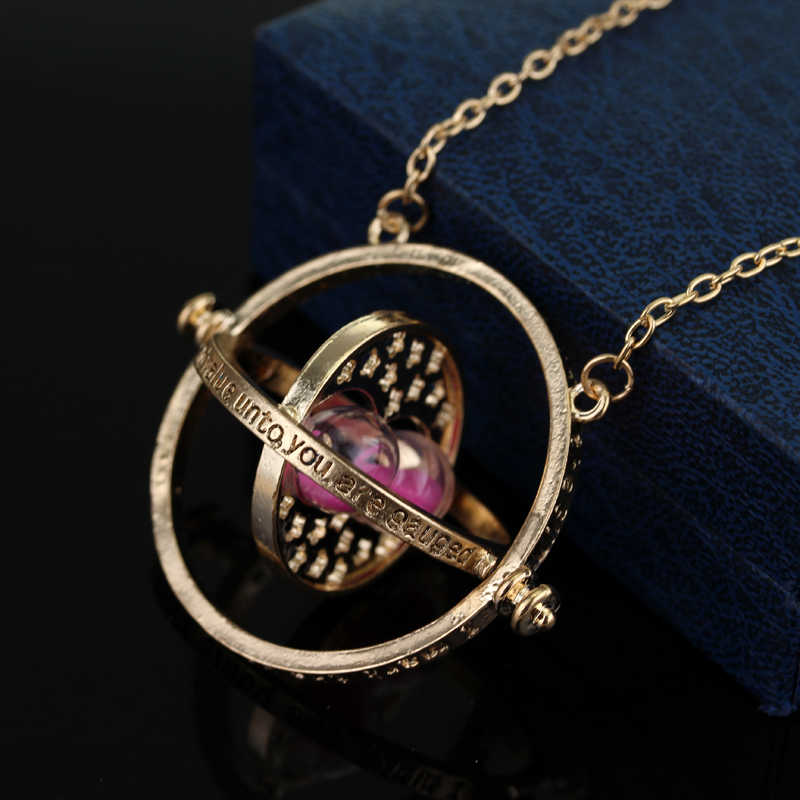 c08c474a6cd54 Hot Harry P Time Turner Necklace Hermione Granger Rotating Spins Hourglass  Pendant Fashion Movie Jewelry For Women Men