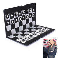 Pocket Mini Chess Set Board Magnetic Portable Checkers Set Traveler Plane Easy To Carry Family Game