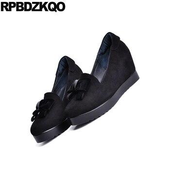 обувь на танкетке для детей | Туфли на высоком каблуке 8 см, размер 4, 34, 33, 2018 г. Туфли-лодочки на танкетке с бантиком и круглым носком цвета красного вина Дамская обувь черн...