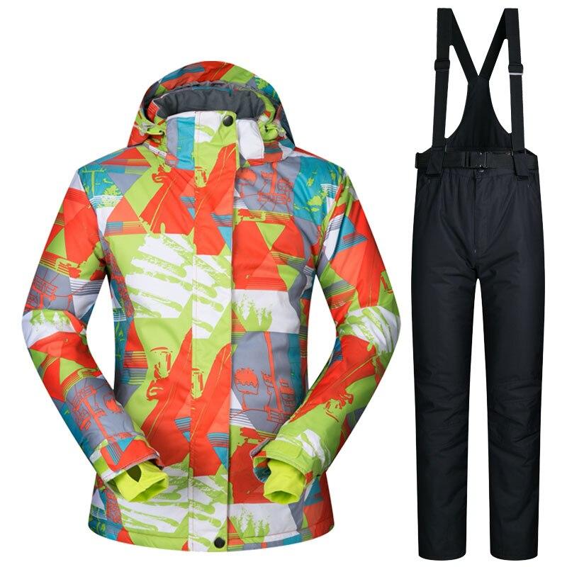 Costume de Ski chaud marques de femmes imperméables coupe-vent vestes de Ski et pantalons d'escalade nouveau placage de Ski et Double planche dames combinaison de Ski