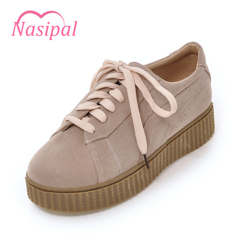 Nasipal Flat Shoes For Women 2017 Spring Autumn Flat Platform Fashion Casual Shoes Lace-up Round Toe Cross tied Female Shoe C131