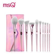 New Pink MSQ10Pcs Professional Makeup Brushes Set Blusher Foundation Eyeshadow Make Up Kit Travel Tool Maquiagem