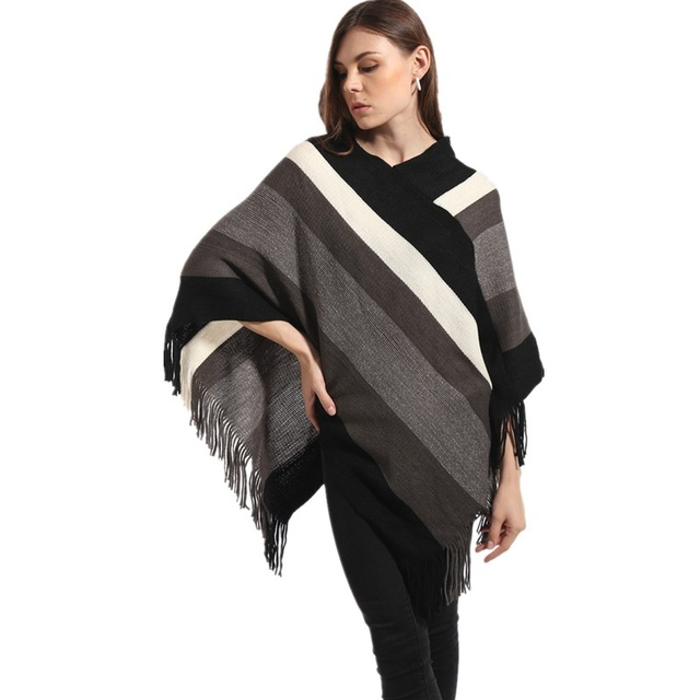 2016 New Fashion Women Knitted Poncho Stripe Street Snap Knitted Tassel Cardigan Poncho Shawl Women Brand Clothes CF010