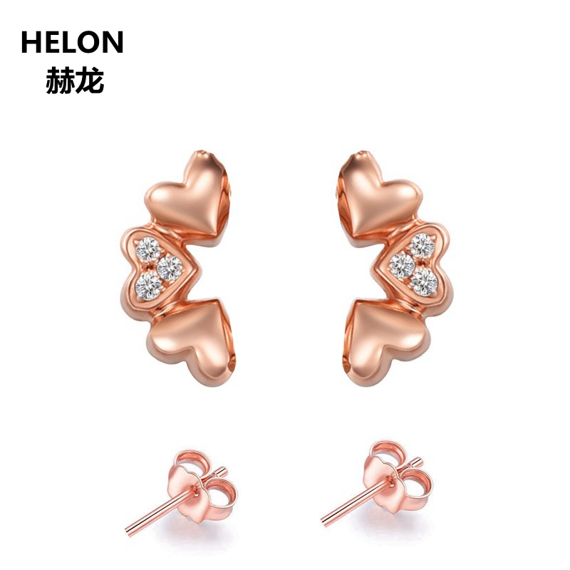 Solid 14k Rose Gold SI/H Full Cut Natural Diamonds Stud Earrings Engagement Wedding Anniversary Women Earrings Fine Jewelry solid 18k rose gold women stud earrings engagement wedding anniversary party fine jewelry
