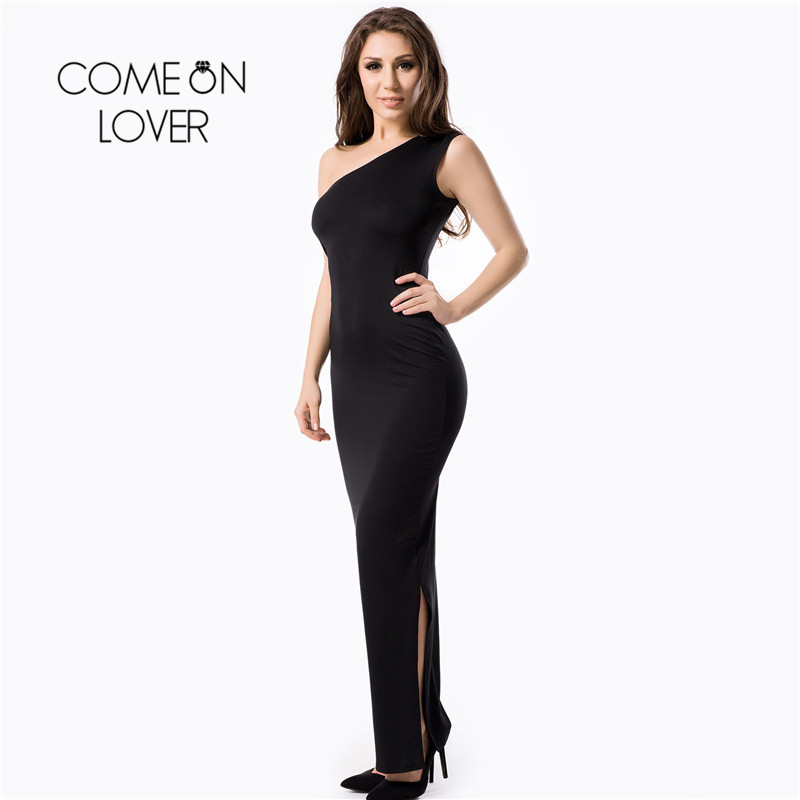Comeonlover Black One Shoulder Plus Size Dress Wholesale Sexy Club