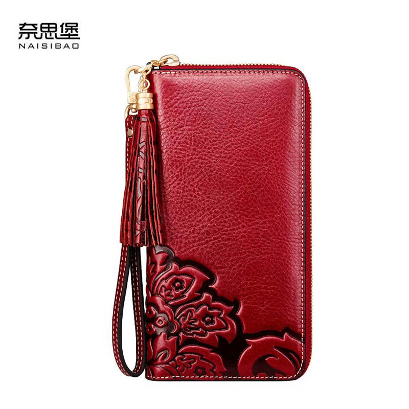 NAISIBAO2018 New luxury fashion 100% high-quality high-capacity wallet zipper wallet first layer of leather long clutch the 2018 new first layer of real leather ma am oil wax retro high capacity multi card bit long wallet clutch ma am genuine