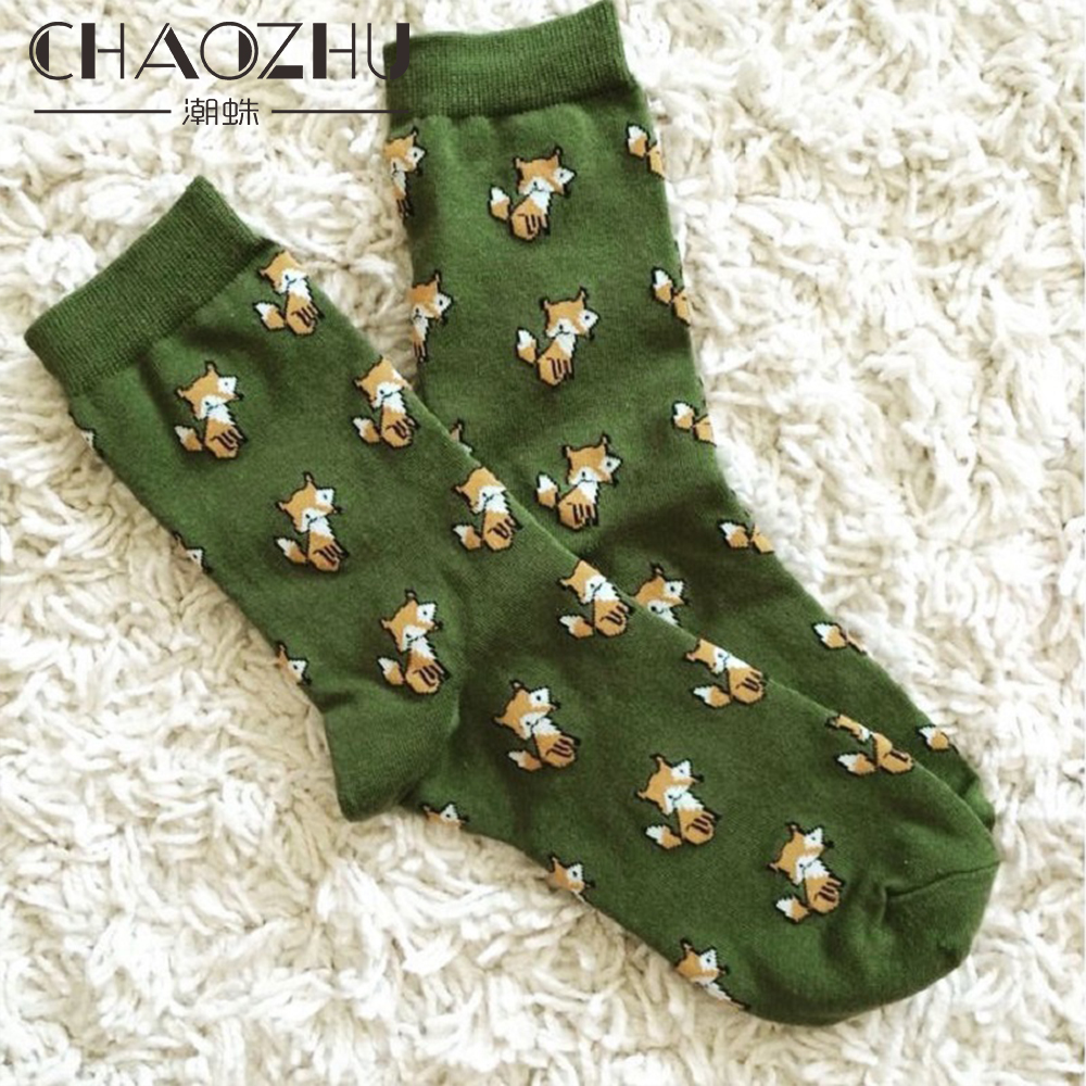 CHAOZHU Cartoon Fox Spring Autumn Cotton 200 Needles Knitting Cute Small Wild Fox Creative Men Women Girls Fashion Socks