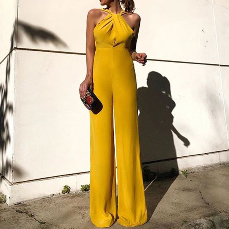 Women Wedding   Jumpsuit   Sexy Deep V Halter Sleeveless Halter Elegant   Jumpsuits   Casual Wide Leg Pants Ladies Coverall