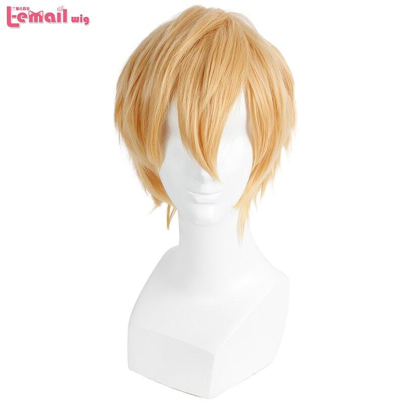 L-e-mail peruca nova marca perucas masculinas 32 cm/16.6 polegadas curto loira resistente ao calor do cabelo sintético perucas homens cosplay peruca