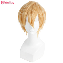 L email wig Brand New Men Wigs 32cm/16.6inches Short Blonde Heat Resistant Synthetic Hair Perucas Men Cosplay Wig