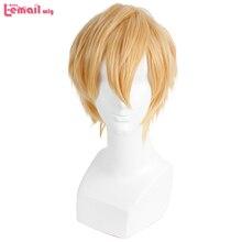 L email wig synthétique courte Blonde 32cm/16.6 pouces pour hommes, perruque Cosplay résistante à la chaleur