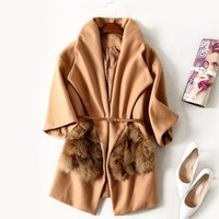 2017 Winter Fashion Women Loose Sashes Fur Pocket Camel Coat Exquisite Silm Turn Down Collar Wool
