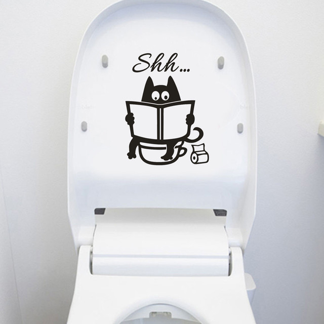 Cute Cat Shh Pattern Toilet Wall Stickers Unique Accessories Removable Decal Vinyl Mural Creative Washing Room Decorations 2019