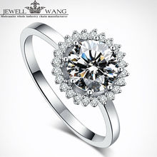 Jewellwang Moissanite Rings Original Flower Design 1.00ct Carat 18K White Gold Engagement Rings For Women Fine Jewelry Girl Gift