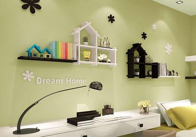 Small clapboard house room background wall shelving decorative shelf ...