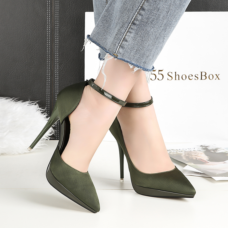2018 Summer Women 12cm Thin Extreme High Heels Satin Silk Pumps Female Elegant Sweet Heels Shoes Scarpins Buckle Cheap Shoes 24