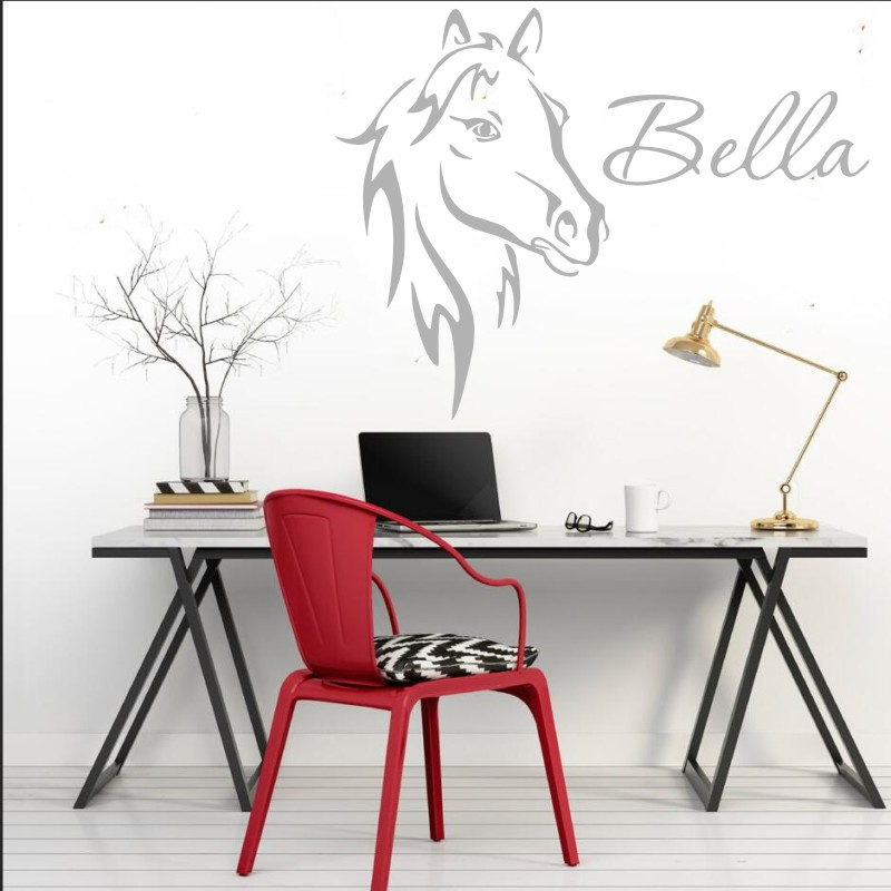 Wall Sticter For Kids Rooms DIY Horse Head Customized Name Wall Decal For Boys Girls Bedroom Living Room Personalized Name WW 16 in Wall Stickers from Home Garden