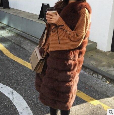 Gilet Pelucheuse Aw287 2018 Manteau Renard Hiver Lady Bureau cou De Furry Fourrure Faux Vetement V Outwear Taille Lolita Longue q4zBqO