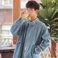 2017 spring autumn men's long loose washed denim shirt light blue windbreaker retro Metrosexual jacket slim school jacket