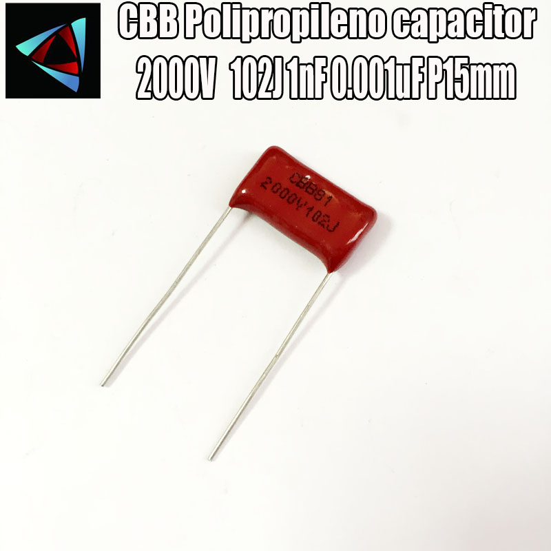12PCS 2000V 2KV 102J 1nF 0.001uF P15 Polypropylene Film Capacitor Pitch 15mm