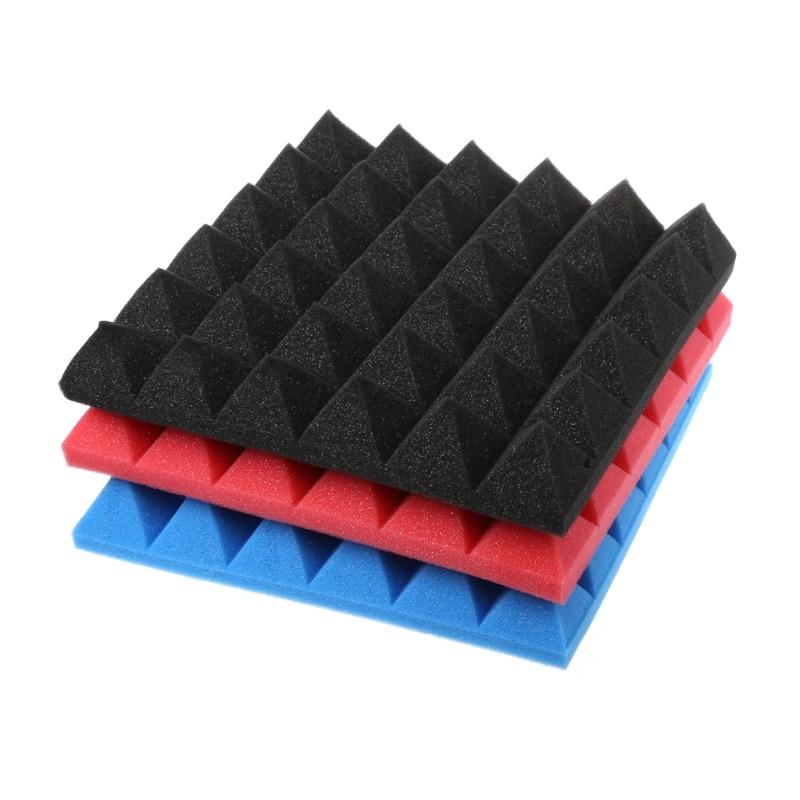 TIKAA 30x30x5cm Pyramid Flame Retardant Soundproofing Foam Studio Acoustic Sound Treatment Absorption Wedge Tile
