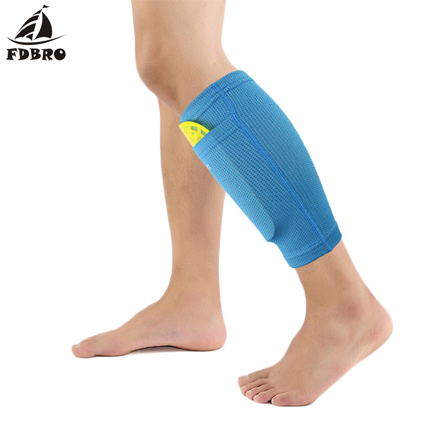FDBRO New 1 Pair Soccer Protective Socks Shin Guard With Pocket For Football Shin Pads Leg Sleeves Supporting Support Sock