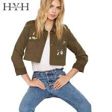 HYH HAOYIHUI Denim Women Fashion Solid Army Green Turn-down Collar Pocket Outwear Long Sleeve Loose Coat Shaping Casual Coat army green loose fit hooded outwear