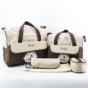 Image 3 - MOTOHOOD 5 adet bebek bebek bezi çantaları setleri anne analık çanta yüksek kapasiteli çok fonksiyonlu seyahat Nappy çanta düzenleyici fermuar