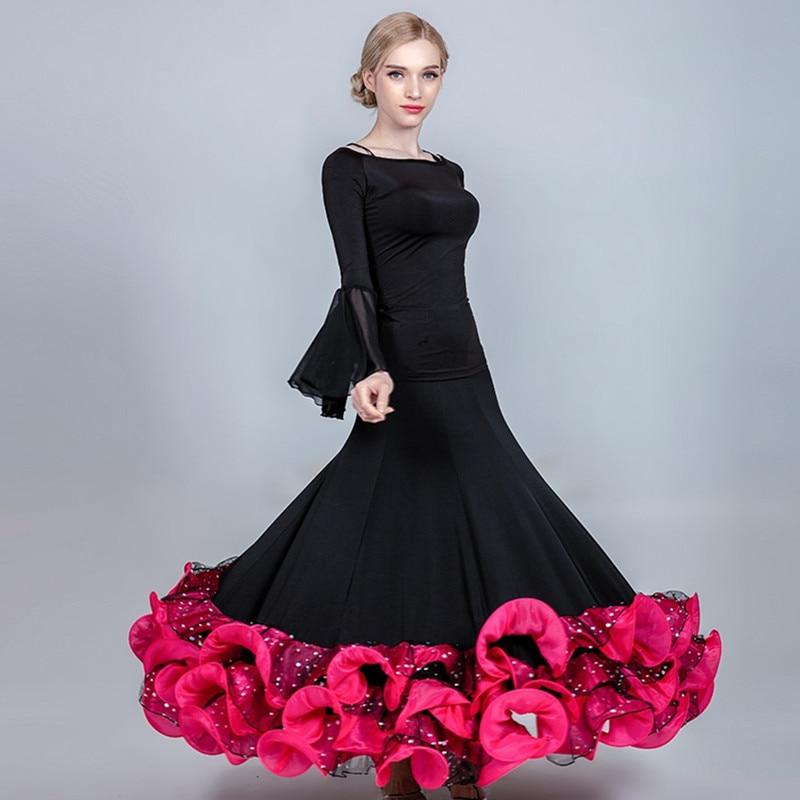 Women Dance Skirts Dance Clothes Long Standard Skirt For Dancing Flamenco Skirt Dance Top Ballroom Dance Wear Waltz Costumes
