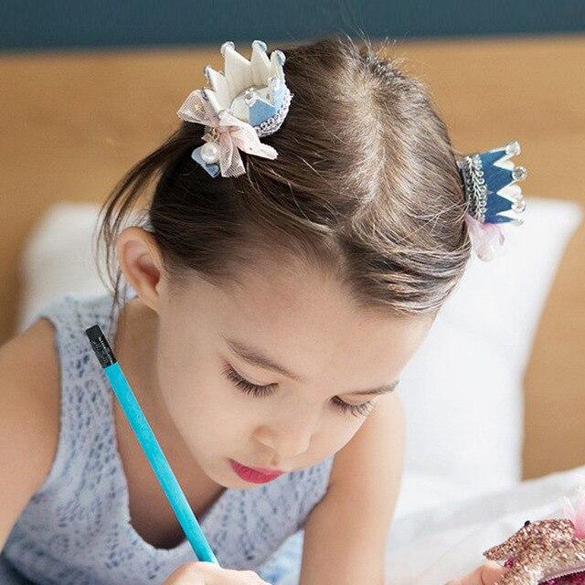 Children's Jewelry Diamond Crown Baby Princess Cloth Crown Diadem Princess Hair Clips For Children Tiara Acessorio De Cabelo T
