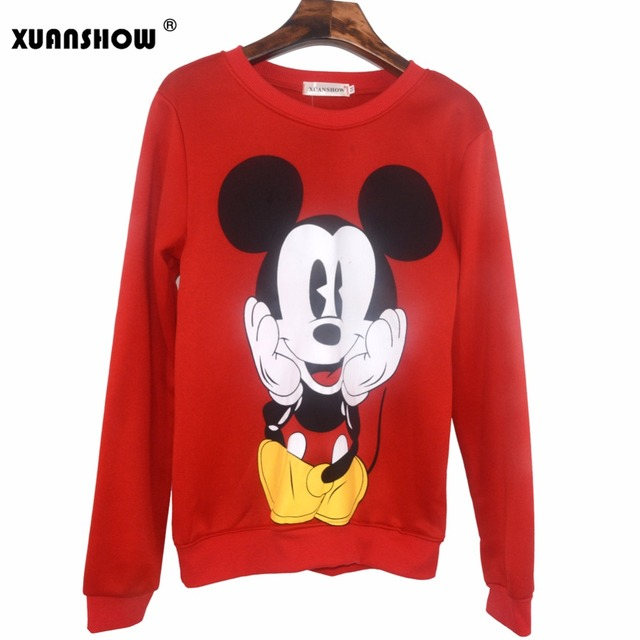 XUANSHOW 2018 Women Sweatshirts Hoodies Character Printed Casual Pullover Cute Jumpers Top Long Sleeve O-Neck Fleece Tops S-XXL 2