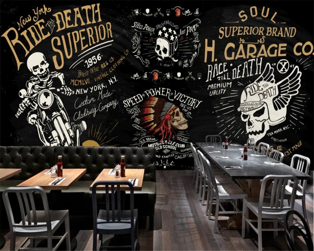 US $8 85 OFF Beibehang Custom Wallpaper European And American Motorcycle Skull Bar Bar KTV Graffiti Mural Background Wall 3d Wallpaper
