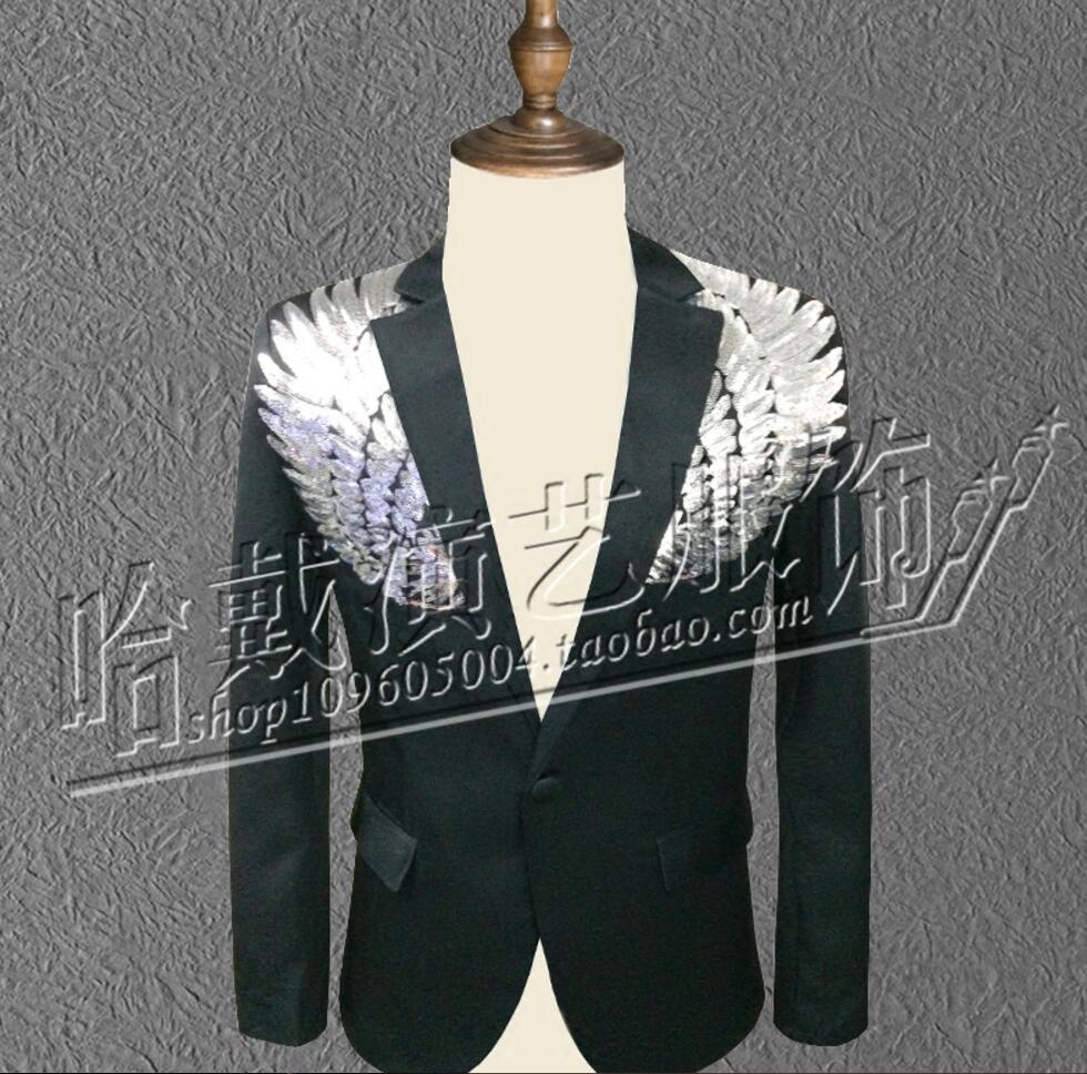 S-5XL ! New Sequins Suit Men performance Blazer nightclub Bar male singer DS DJ show suit Stage Costumes 4XL 5XL !
