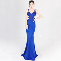 Blue Diamonds Beading Sexy Deep V Neck Sleeveless Backless Hollow Out Long Mermaid Elegant Party Dress