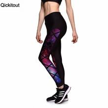 Qickitout Leggings 2016 Womens Leggings For Train Fitness Black Grid Star Galaxy High waist Elastic leggins plus size