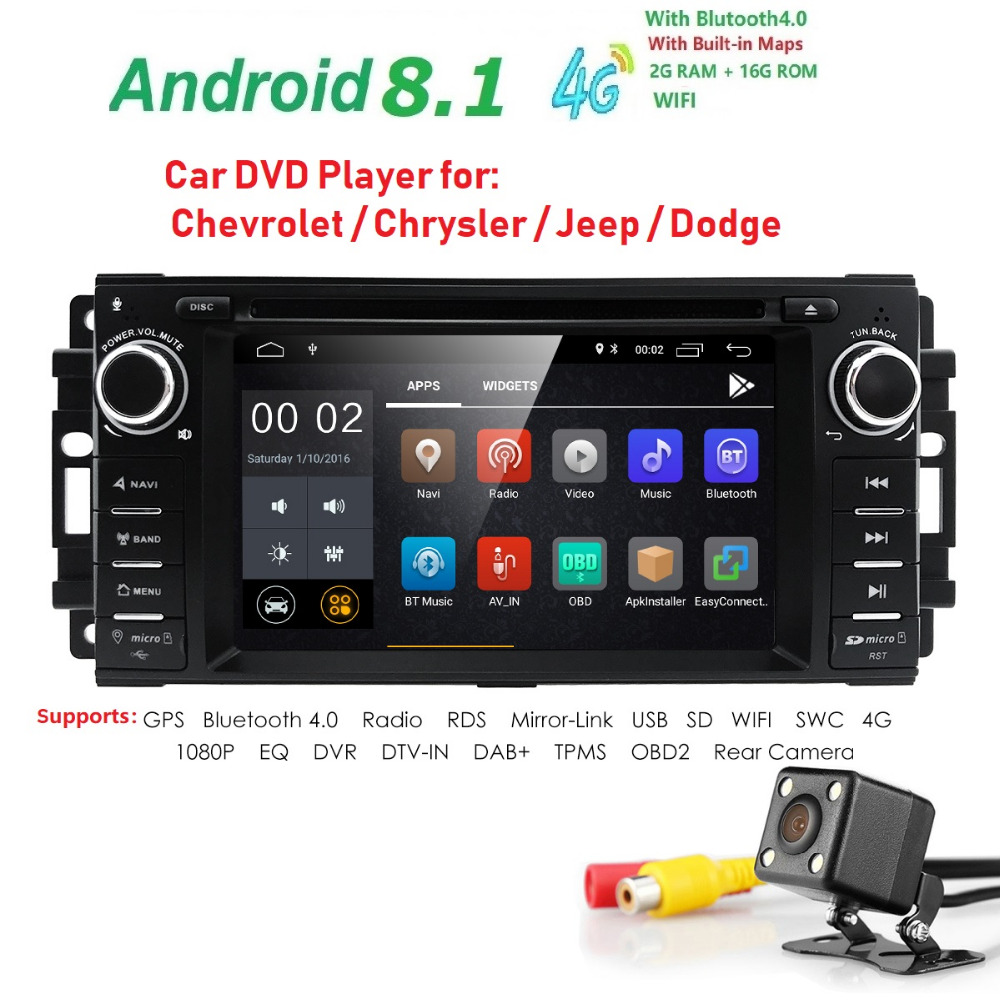 Vehicle Stereo Gps Navigation For Chrysler 300c Jeep Dodge: Android 8.1Car DVD Player Radio For Jeep Compass Chrysler