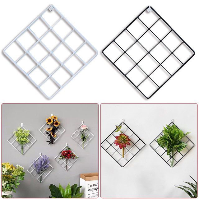 Nordic Ins Style Metal Mesh Grid Wall Photos Grids Pictures Postcards Frame Iron Storage Rack Holder Home Bedroom DIY Decoration