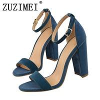 2018 Summer Elegant Fashion Woman 9cm Thick High Heels Sandals Female Block Blue Purple Heels Pumps Lady Strappy Chunky Shoes