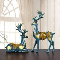 Europe Couples Elk Home Decoration Accessories For Living Room Resin Figurines Feng Shui Craft Supplies Miniature Model Gift