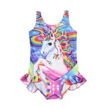 Nuevo 2018 traje de baño para niñas, unicornio caliente, una pieza, traje de baño para niños, verano, Princesa, unicornio, traje de baño, traje de baño G49-CZ884