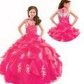 2016 Crianças Júnior Vestidos Concurso de Beleza Para Crianças Criança Flor Meninas Vestido Puffy Pageant Vestidos Com Pérolas Com Cercadura