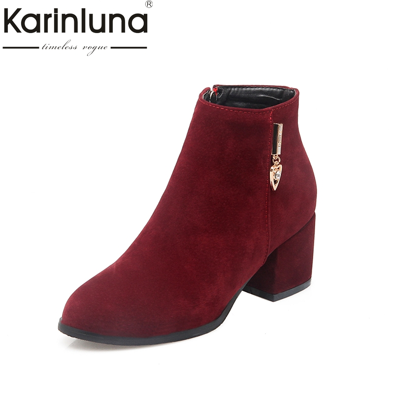 KARINLUNA 2018 plus size 32-45 Zip up chelsea boots casual square med heels add fur ankle boots women shoes woman winter цена