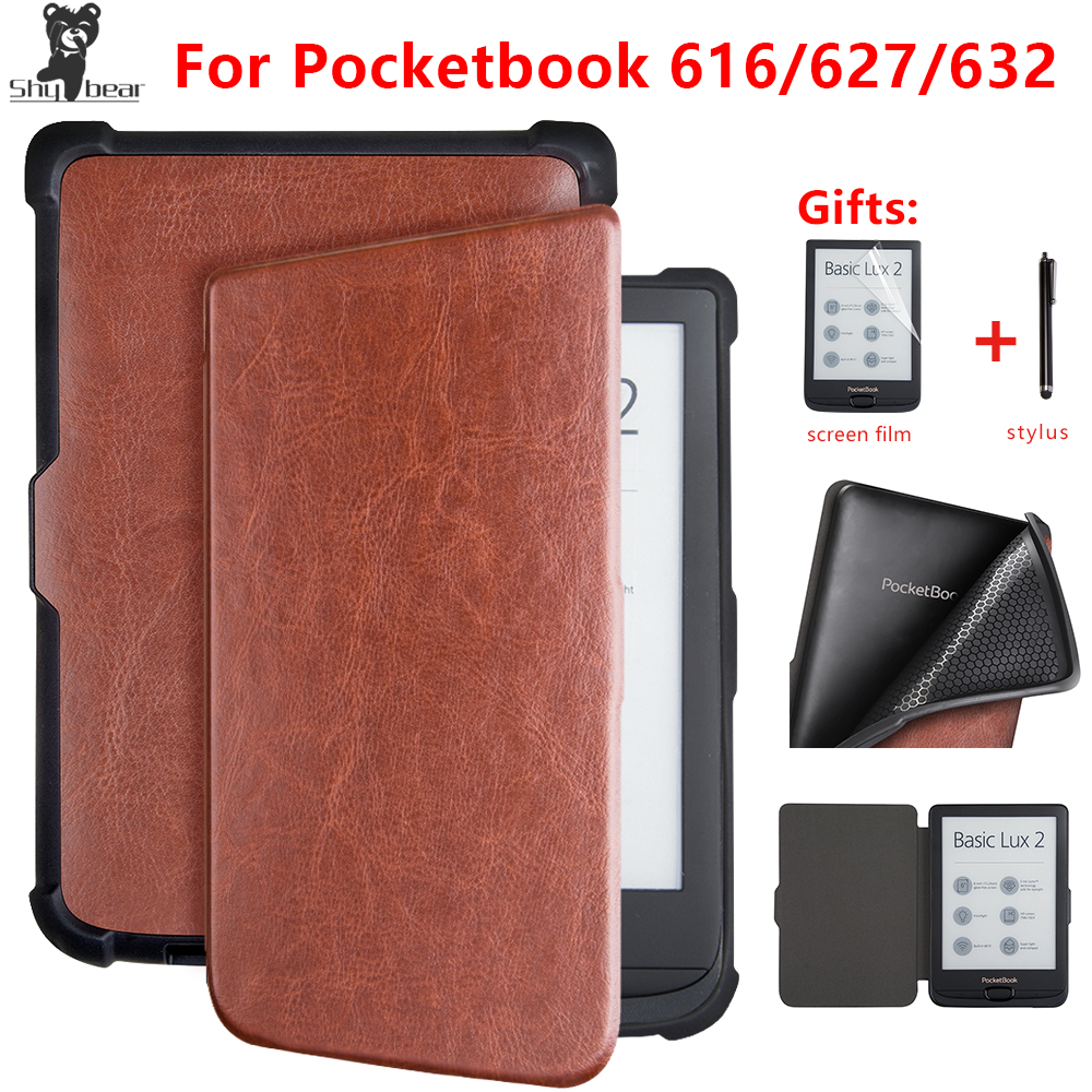 leather case For <font><b>Pocketbook</b></font> <font><b>616</b></font> 627 632 smart cover for PocketbooBasic lux2 book /touch/lux4 touch hd 3 6