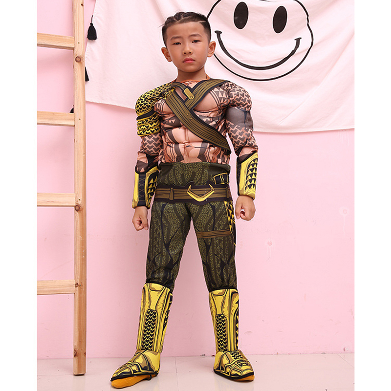 Halloween Costume Movie Justice League Aquaman Cosplay Muscle Costume Zentai Arthur Curry Orin Bodysuit Suit Jumpsuits for kids