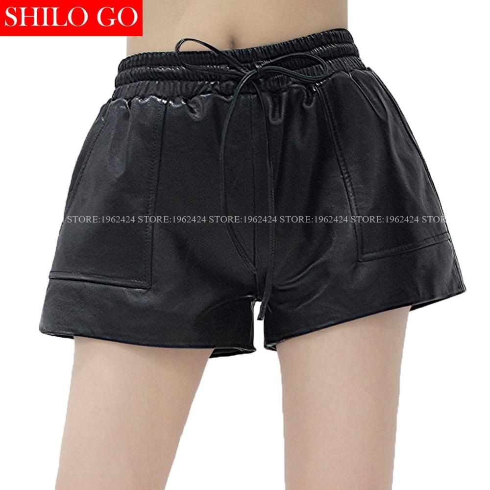 Autumn Winter Fashion Women High Quality Sexy Sheepskin Pocket Elastic Belt Drawstring Waist Wide Leg Leather Shorts 2XL