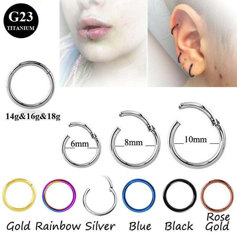 1Pc Titanium Segment Hinged Rings Septum Nose Piercing Nose Lip Earrings,Rose Gold,1.2X10Mm
