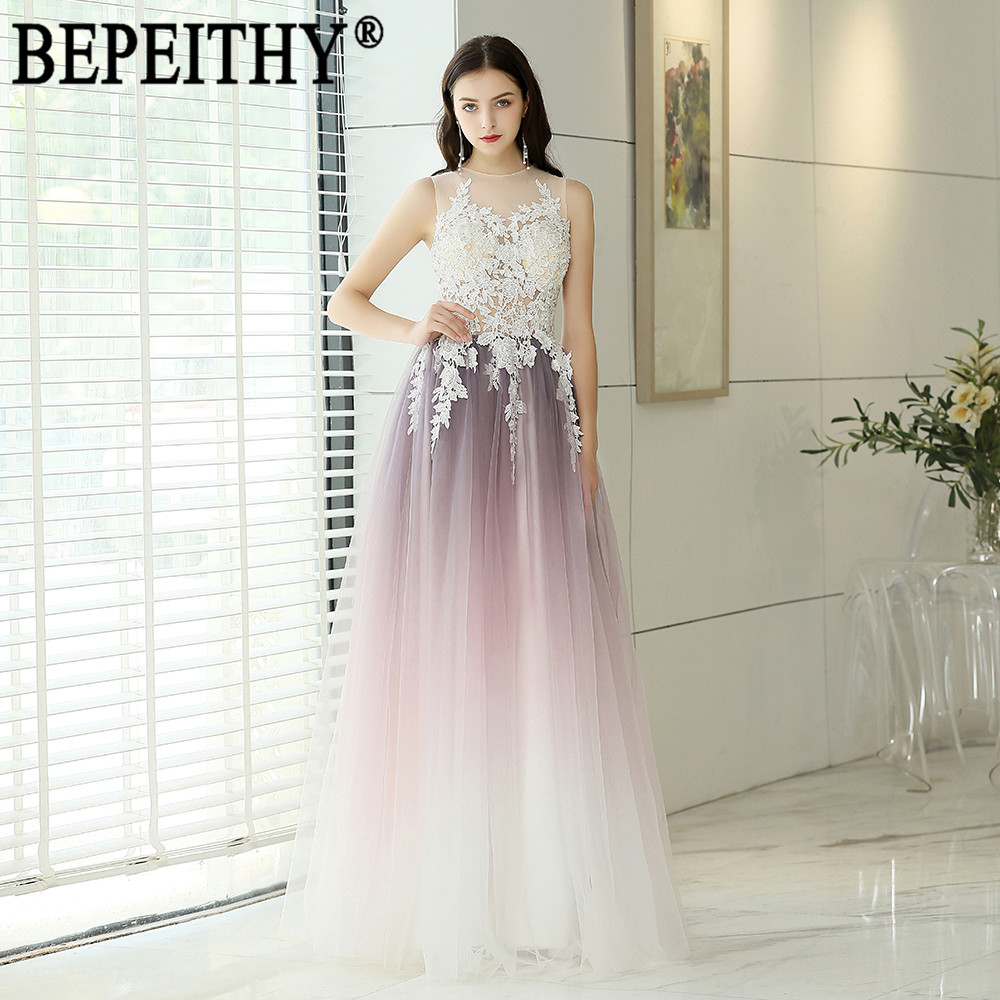 BEPEITHY Vestido De Festa New Design O-Neck Sleeveless Gradient Color Tulle Appliques Long   Evening     Dresses   2019