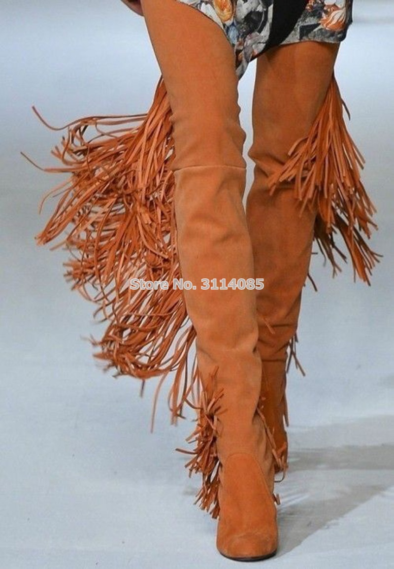 Longues Brun Chunky Sexy Over as Bottes Femmes Picture Hautes Suede Cuisse Talon as Robe Chaussures Luxueux Picture genou Gland the Fringe customized Picture As q6tp5F