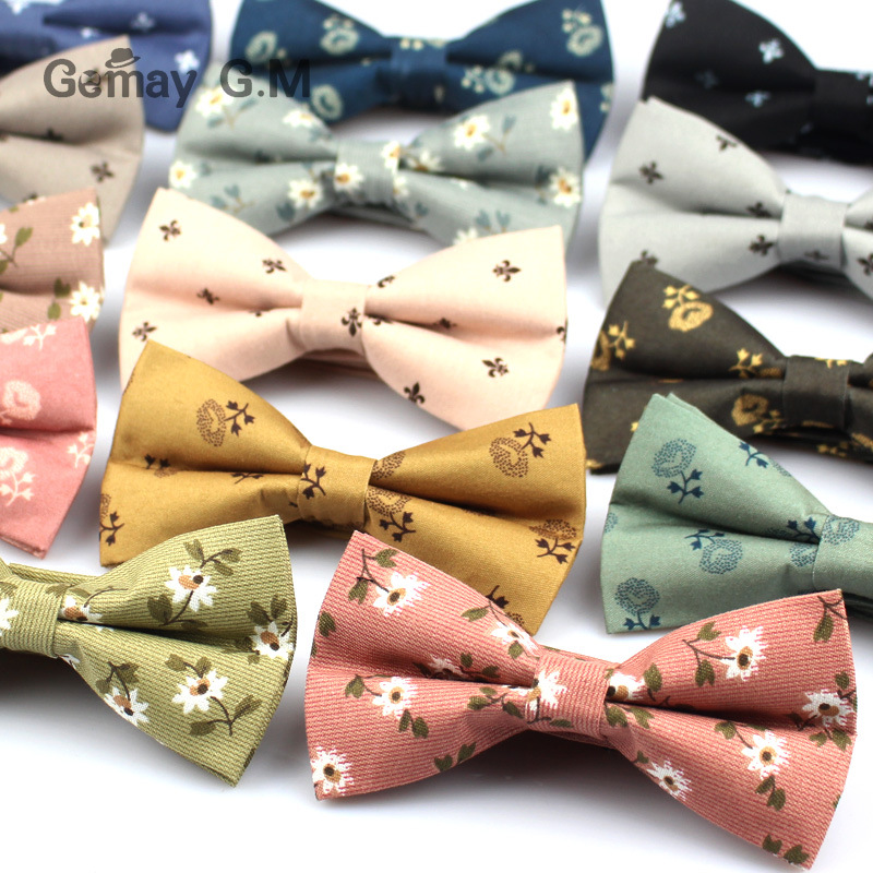 British Style Vintage Flower Print Bowtie For Men Fashion Casual Groom Bow Ties For Wedding Floral Skinny Bowtie Cravat Bowtie